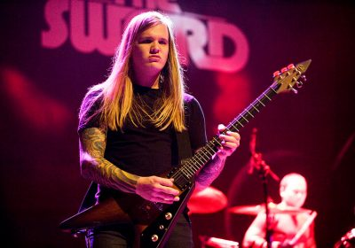 """""""The Sword performed October 6, 2010 at the Ogden Theatre in Denver Co. The Sword consists of guitarist and vocalist John D. """"J. D."""" Cronise, guitarist Kyle Shutt, bassist Bryan Richie and drummer Trivett Wingo. (Photo by Mateo Leyba)"""""""